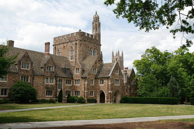 "A residential building at Duke University in Durham, North Carolina. A campus fraternity has been suspended after throwing an Asian-themed party ""replete with conical hats, geisha outfits, and intentional misspellings."""