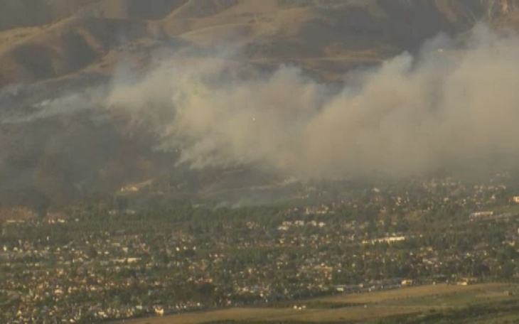 A wildfire in Fillmore on Monday evening, April 8, 2013.