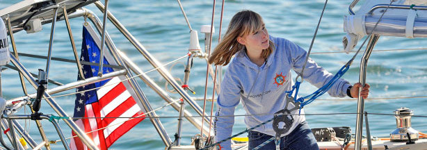 In this Saturday, Jan 23, 2010 picture, Abby Sunderland, 16, looks out from her sailboat, Wild Eyes, as she leaves for her world record attempting journey at the Del Rey Yacht Club in Marina del Rey, Calif.