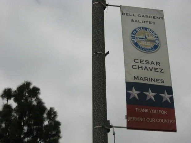 One of a series of city banners honoring local military members, this one for a Marine with a familiar name, September 22, 2010