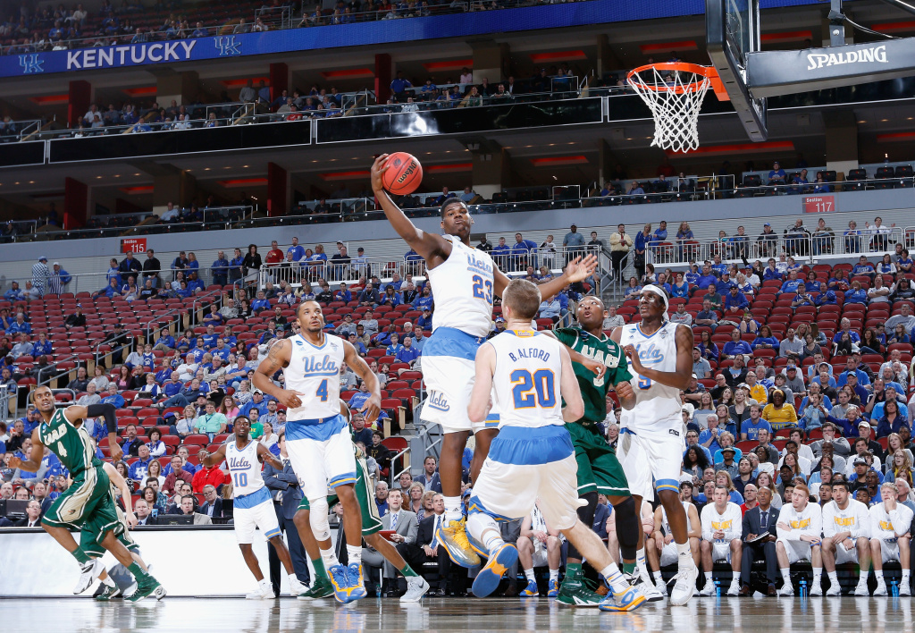 Tony Parker #23 of the UCLA Bruins grabs the ball against the UAB Blazers during the third round of the 2015 NCAA Men's Basketball Tournament at KFC YUM! Center on March 21, 2015 in Louisville, Kentucky.