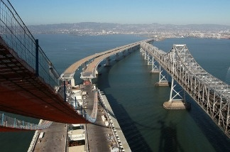 A section of the newly constructed eastern span of the San Francisco-Oakland Bay Bridge in Oakland, Calif.