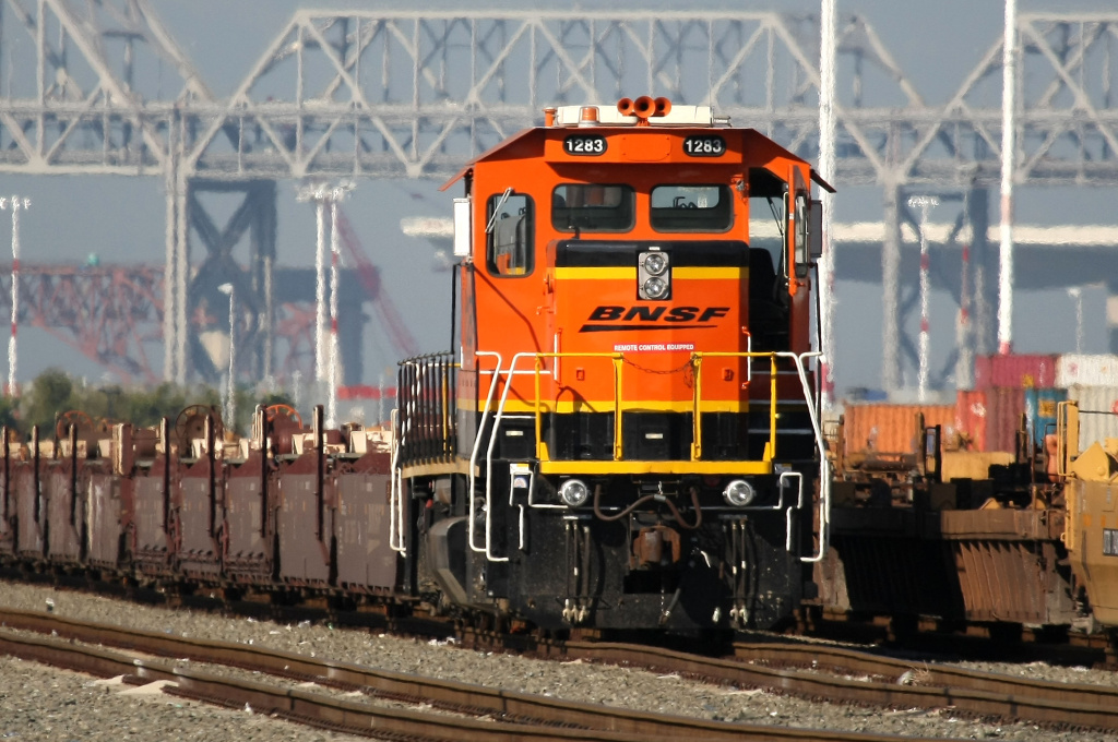 A Burlington Northern Santa Fe train sits idle at the Port of Oakland November 3, 2009 in Oakland, California.