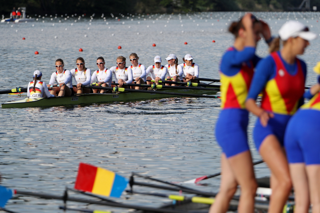 Team members of Germany's Women's Eight look dejected after missing the qualification for the 2016 Summer Olympic Games in Rio.