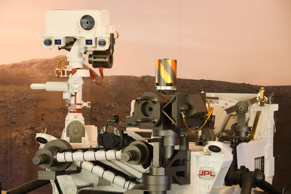 A full scale model of the Mars 2020 Perseverance rover is displayed at NASA's Jet Propulsion Laboratory (JPL) on February 16, 2021 in Pasadena, California.