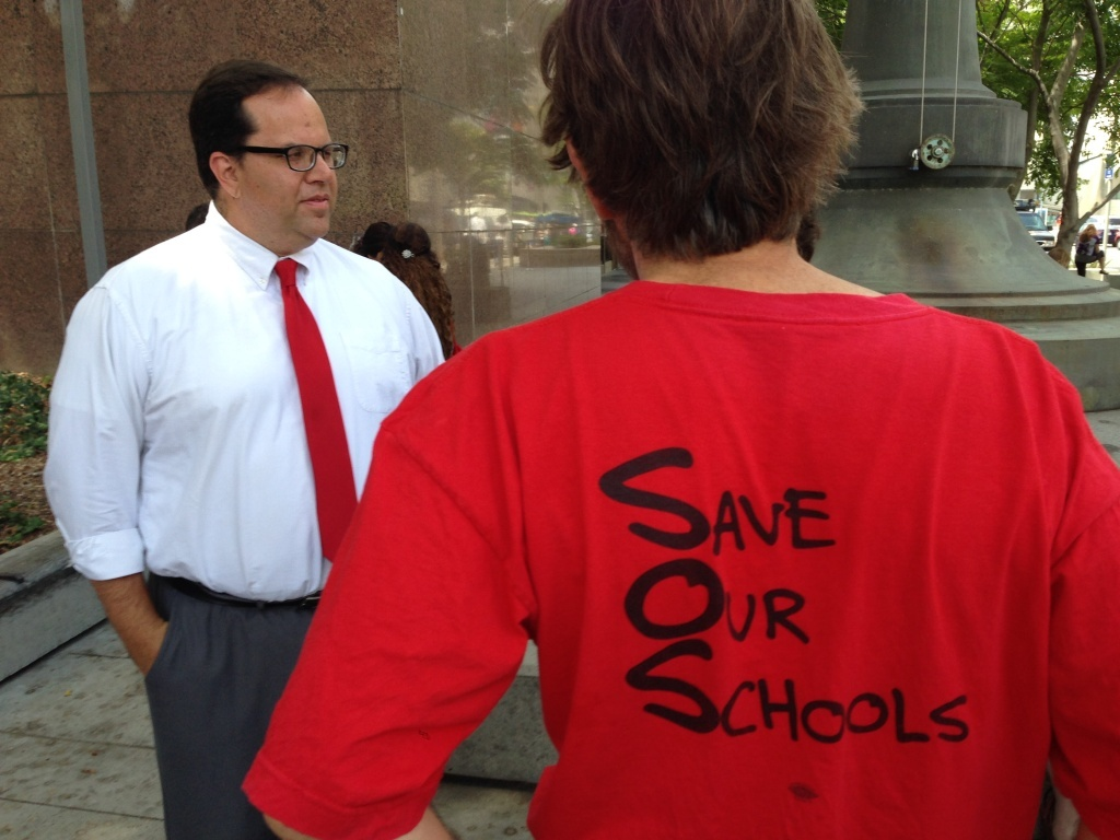 File: United Teachers Los Angeles President Alex Caputo-Pearl (left) outside a downtown L.A. court house after the Vergara v. California decision earlier this year.