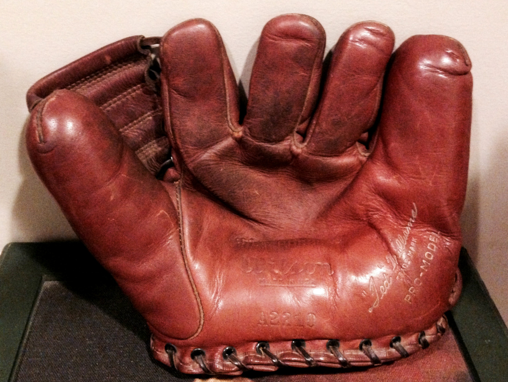 Norman Rosenfeld's actual baseball glove. He also played football for UM in 1938.