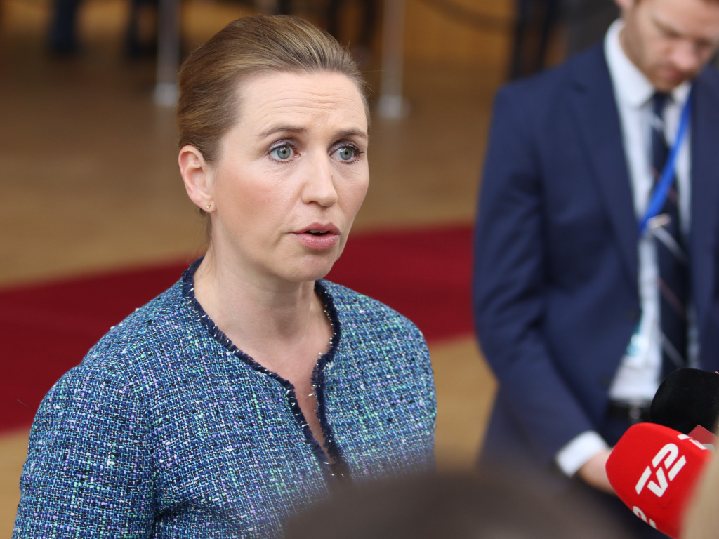 Danish Prime Minister Mette Frederiksen, shown here in Brussels in February, has postponed her wedding due to a European Council meeting.