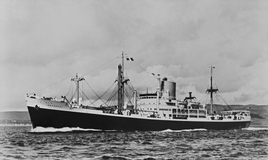 An archival image of the SS Cotopaxi, taken in 1920.