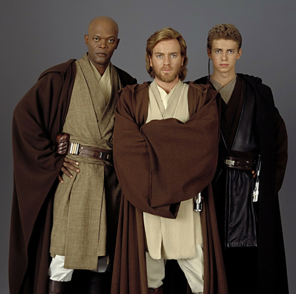 Jedi knights Mace Windu (Sam Jackson) Obi Wan Kenobi (Ewan McGregor) and a young Anakin Skywalker (Hayden Christensen)