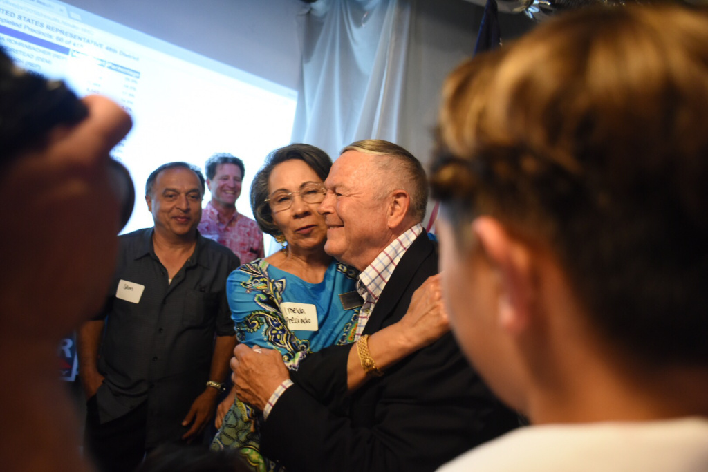 Rep. Dana Rohrabacher hugs a supporter at his election night party in Costa Mesa, California, on Tuesday, June 5, 2018.