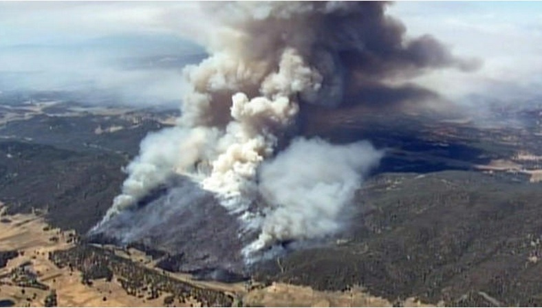 A screencap from NBCLA of a vegetation fire in the Pope Valley area of Napa County, which by Thursday had destroyed two homes and prompted the mandatory evacuation of hundreds of others.