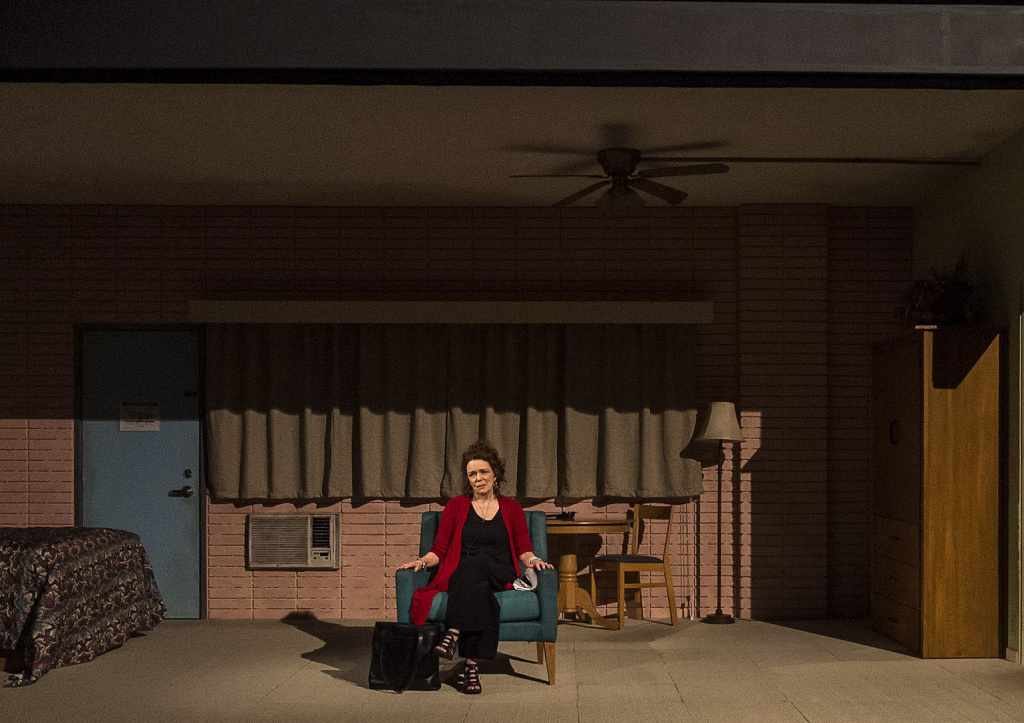 "Deirdre O'Connell in the world premiere of Lucas Hnath's ""Dana H."" at Center Theatre Group's Kirk Douglas Theatre."