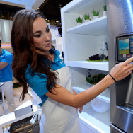 Samsung spokesmodel Kai Madden displays the connectivity feature on a Samsung smart refrigerator at the 2014 International CES at the Las Vegas Convention Center.