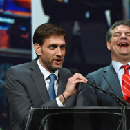 "Sports broadcasters Mike Greenberg (L) and Mike Golic, hosts of ESPN Radio's ""Mike & Mike"" show, speak as they are inducted into the National Association of Broadcasters Broadcasting Hall of Fame."