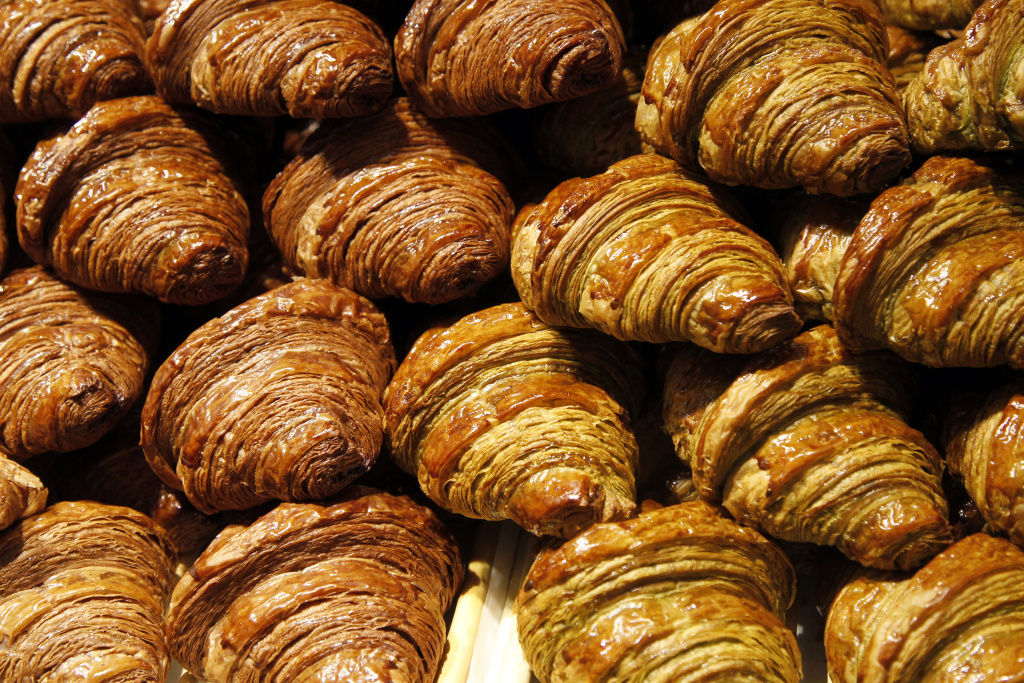 Croissants with chocolate at a stand at the 17th Salon du Chocolat on October 20, 2011 in Paris.