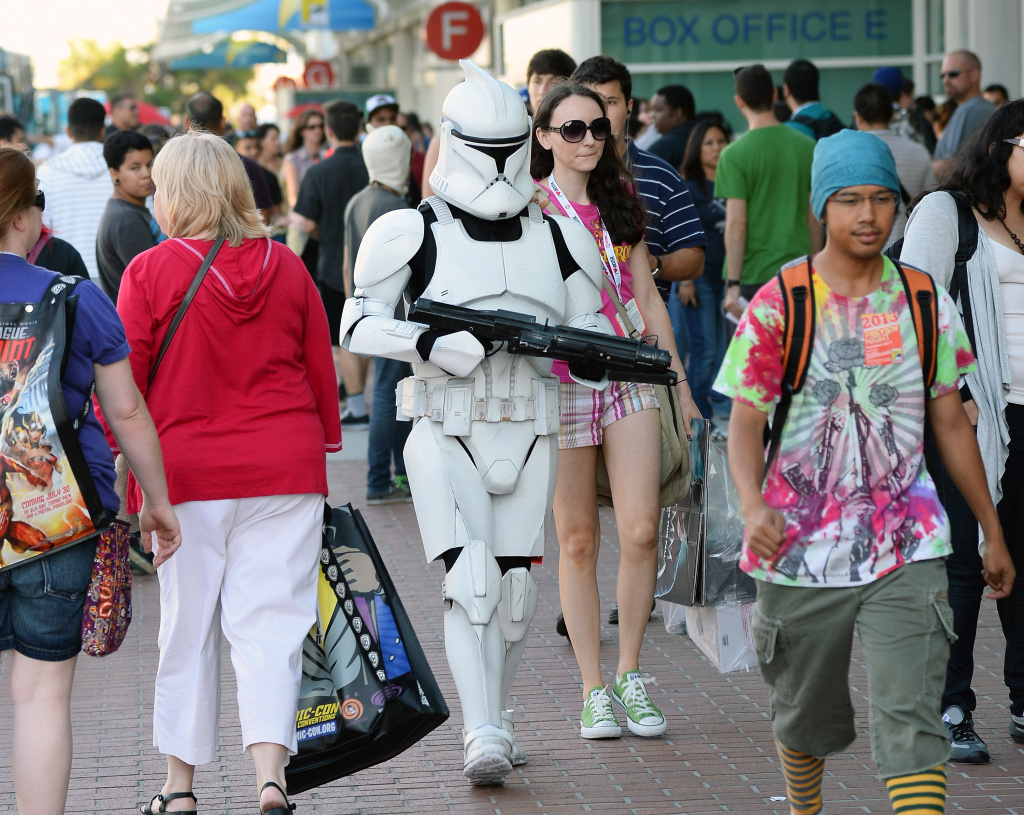 Myke Soler (C) of California walks outside the San Diego Convention Center dressed as a clone trooper from the