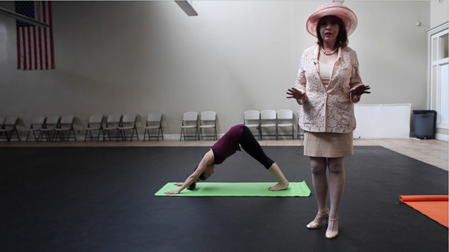 Patt shows us her version of the downward dog.
