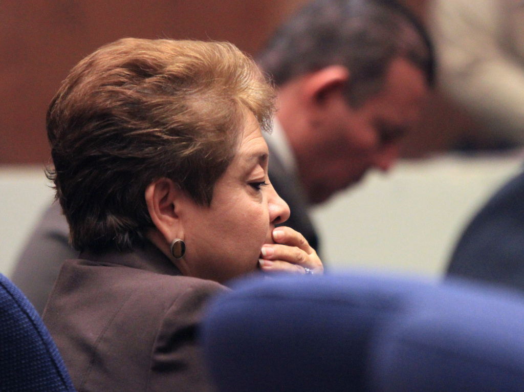 Teresa Jacobo, one of five former Bell City Council members, was found guilty of stealing public money March 20, 2013 in Los Angeles, California. On Thursday she testified in the trial of former assistant city manager Angela Spaccia.