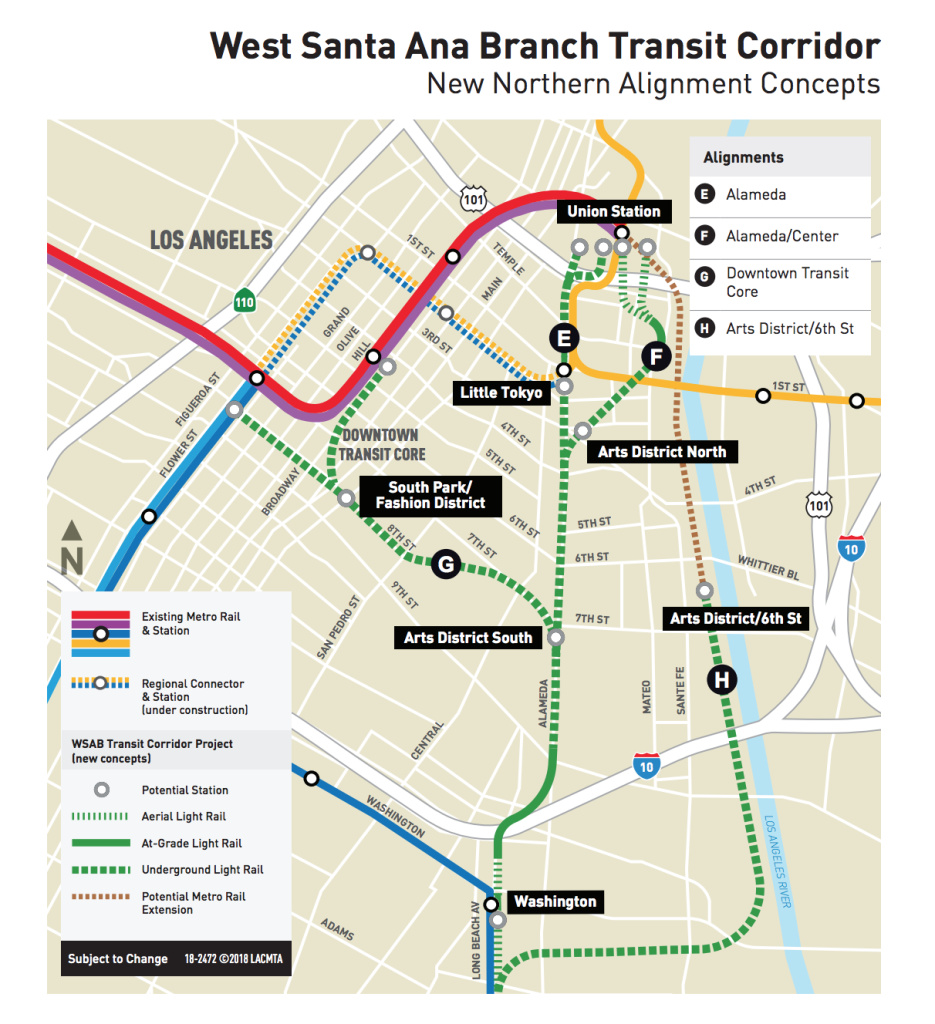 Metro proposed four additional route options for the downtown section of the West Santa Ana Branch light rail to Artesia.