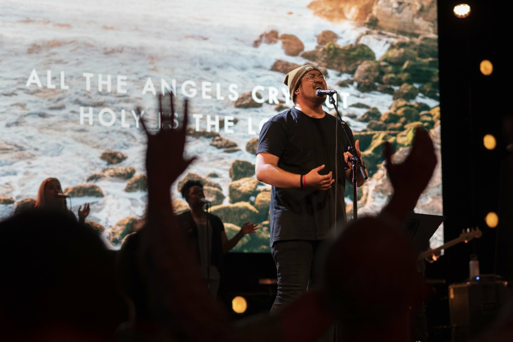 Musicians at the Bethel Church in Redding perform during Sunday service on April 28, 2019.