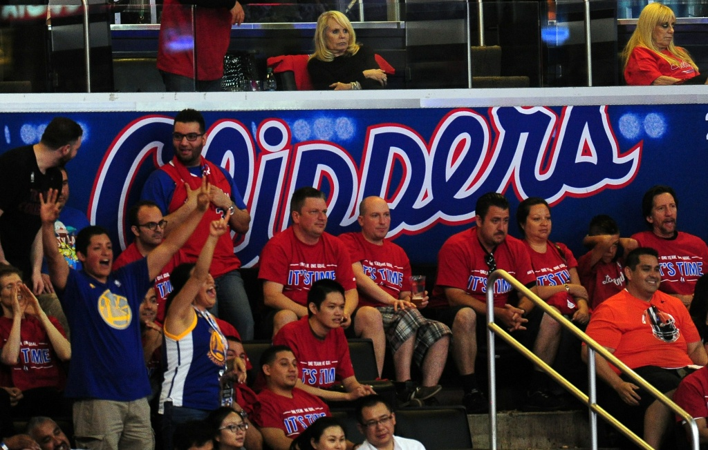 Shelly Sterling, wife of Los Angeles Clippers owner Donald, watches the game while seated alone during action from game 7 between the LA Clippers and the Golden State Warriors in their NBA first round series on May 3, 2014 in Los Angeles.