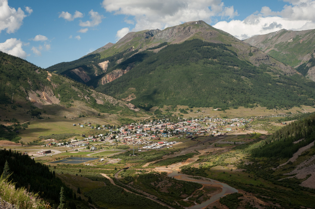 The town of Silverton is pictured on August 11, 2015 in Colorado. The Animas River (shown at bottom) was accidentally flooded with approximately three million gallons of wastewater from the Gold King mine last week