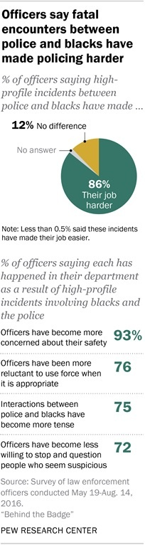 Pew surveyed nearly 8,000 officers. Among other things, the group asked about recent killings of black civilians by police and the protests that followed. Officers said they now feel less safe.