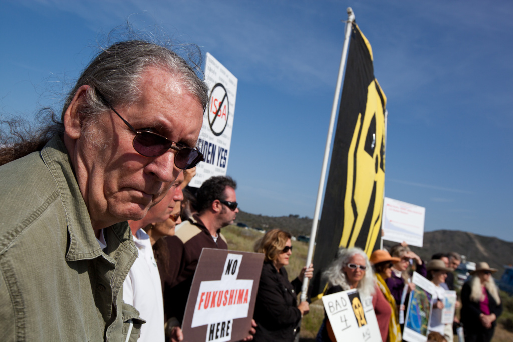 Gene Stone, an anti-nuclear power activist with Residents for a Safe Environment, took part in a protest on San Onofre State Beach on April 6, 2012.
