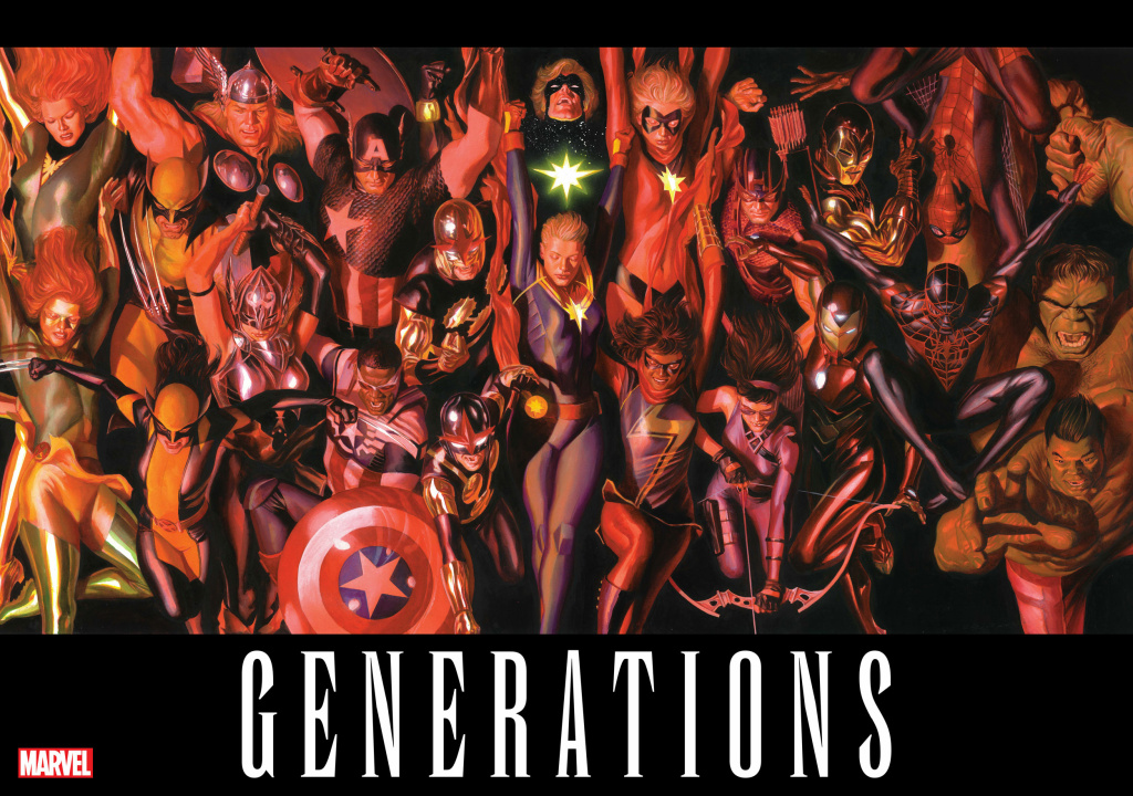 An image from Marvel's upcoming Generations crossover, showing the older generation of heroes with the younger, more diverse lineup.