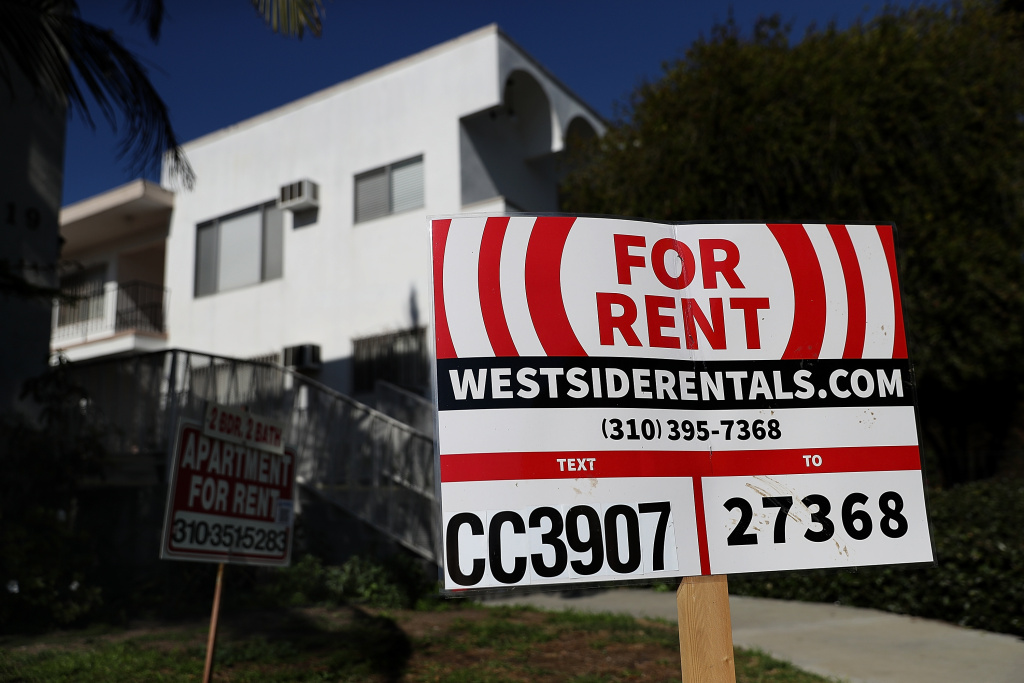 A for rent sign is posted in front of an apartment building on February 1, 2017 in Los Angeles, California.
