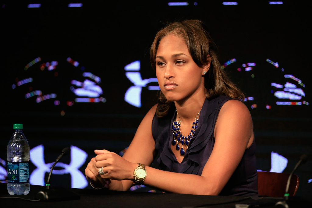 Janay Rice, the wife of running back Ray Rice of the Baltimore Ravens (not pictured) looks on during a news conference at the Ravens training center on May 23, 2014 in Owings Mills, Maryland. Rice spoke publicly for the first time since facing felony assault charges stemming from a February incident involving Janay at an Atlantic City casino.