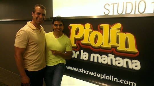 "Take Two host A Martinez and Eddie ""Piolin"" Sotelo at Univision's studios"