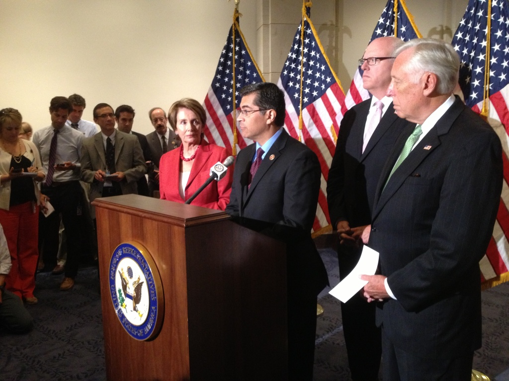 House Democratic leaders Nancy Pelosi and Xavier Becerra spoke Tuesday morning after a briefing from the White House about next steps regarding Syria.
