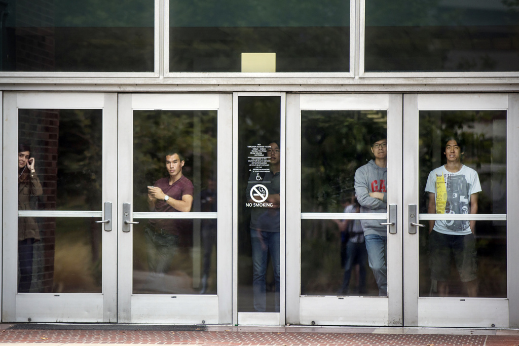 People inside remain sheltered in place on Wednesday, June 1, 2016 following a murder-suicide on the University of California, Los Angeles campus.