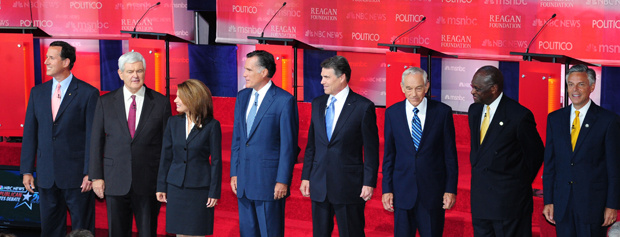 Republican presidential hopefuls, from left: Former US Senator Rick Santorum, former Speaker of the House of Representatives Newt Gingrich, US Representative Michelle Bachmann, former Governor of Massachussetts Mitt Romney, Texas Governor Rick Perry, US Representative Ron Paul, businessman Herman Cain, and former Governor of Utah Jon Huntsman pose for photographs on September 7, 2011 at the Ronald Reagan Presidential Library in Simi Valley, California, for the Republican Presidential Candidates debate. Eight Republican candidates are debating to define the party's nominee to take on US President Barack Obama in the 2012 election.