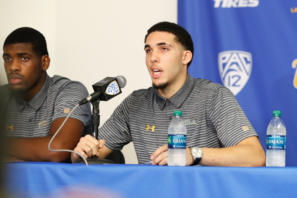 LiAngelo Ball and Cody Riley of the UCLA Men's Baskeball team speak to the media during a press conference at Pauley Pavilion on November 15, 2017 in Los Angeles, California. Ball, Riley and Jalen Hill have been suspended from the team after allegedly shoplifting while on a school trip to China.