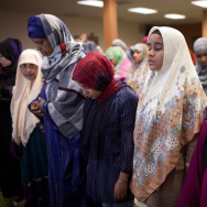 Worshippers attending Friday prayers at the Islamic Center of Southern California.