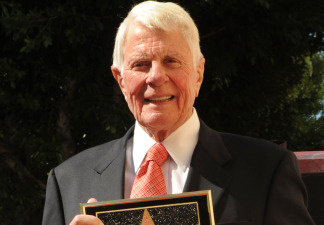 Actor Peter Graves celebrates after he was honoured with a star on the 'Hollywood Walk Of Fame' in Hollywood on October 30, 2009. He died March 14, 2010 in Los Angeles at age 83.