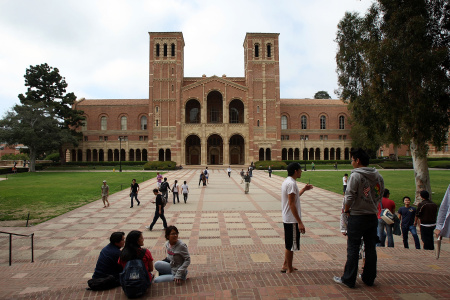 Students go about their business at University of California, Los Angeles (UCLA).