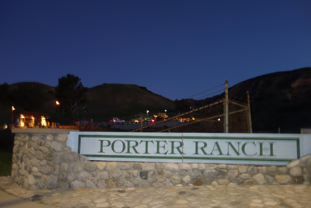Porter Ranch neighborhood sign outside Southern California Gas Co.'s Aliso Canyon Natural Gas Storage Facility.