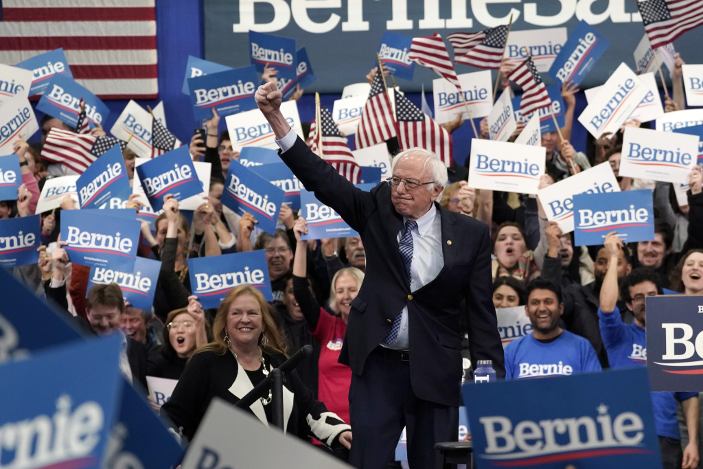 Democratic presidential candidate Sen. Bernie Sanders (I-VT) takes the stage during a primary night event on February 11, 2020 in Manchester, New Hampshire.