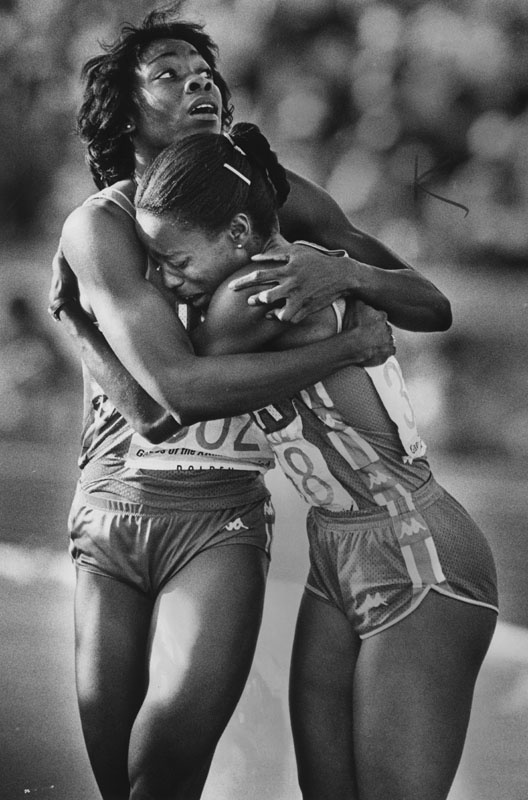 At the 1984 Olympics in LA, After winning the 100 meters, Evelyn Ashford (right) hugs teammate Jeanette Bolden, who came in 4th.