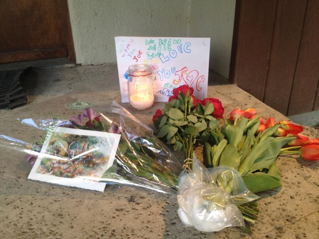 A small memorial for Joseph Gatto in Silver Lake on November 15, 2013.
