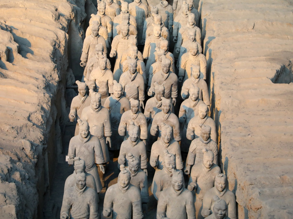 Lifelike clay soldiers at the Museum of Terracotta Warriors and Horses in Xi'an, northwestern China. The first figures were reconstructed by archaeologist Zhao Kangmin, who died Wednesday.