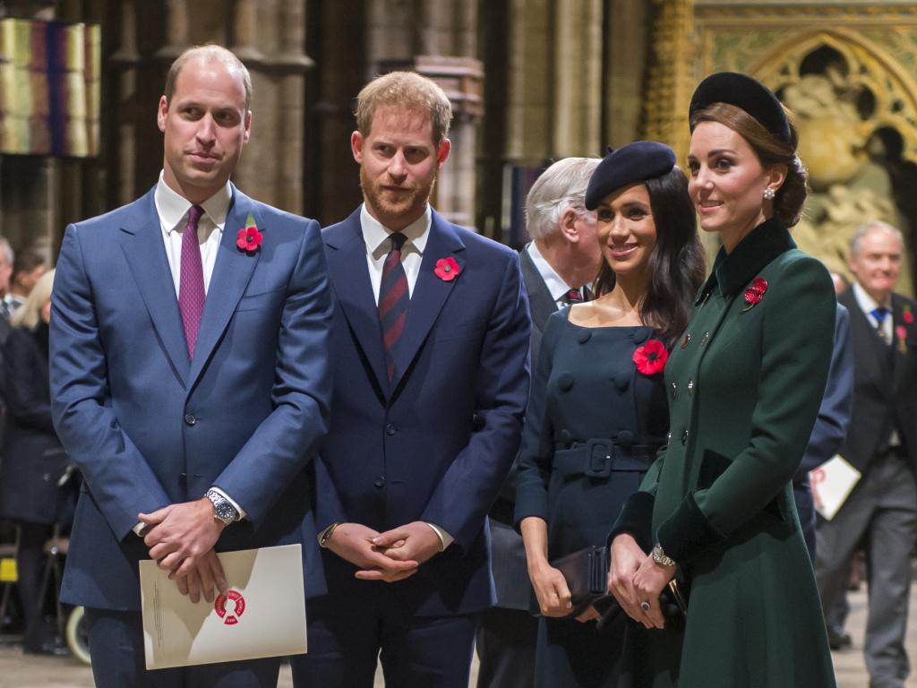 Prince Harry (center left), Duke of Sussex, and Meghan, Duchess of Sussex, join Prince William, Duke of Cambridge, and Catherine, Duchess of Cambridge, at a service marking the centenary of the World War I armistice at Westminster Abbey on Nov. 11, 2018.