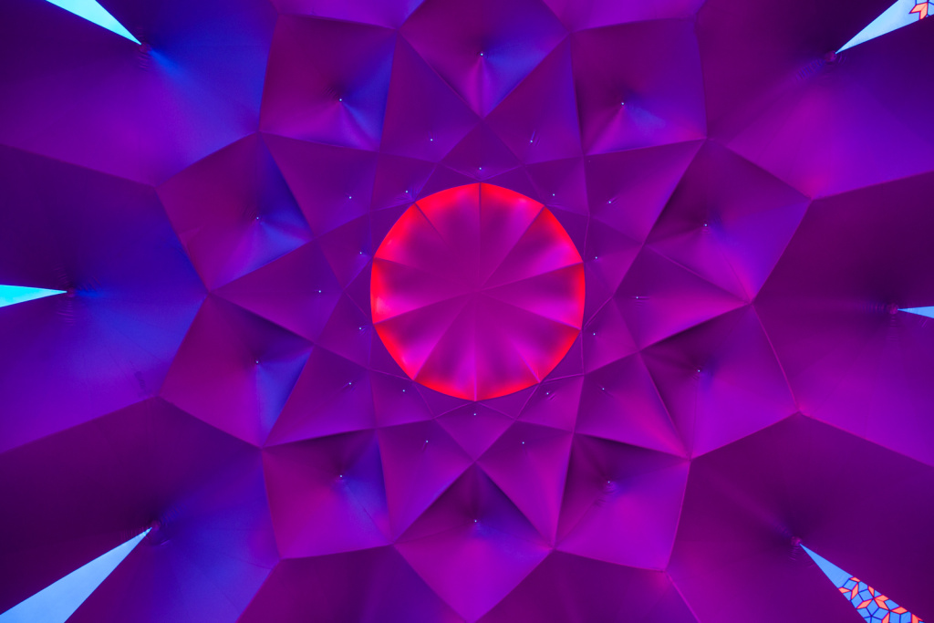 The ceiling of a room in the Exxopolis is made of plastic produced exclusively for Architects of Air.