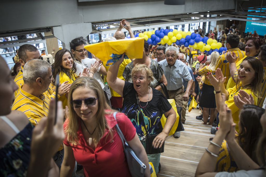 Customers enter an Ikea AB store carrying shopping bags during the opening of the company's store in Belgrade, Serbia on August 10, 2017.