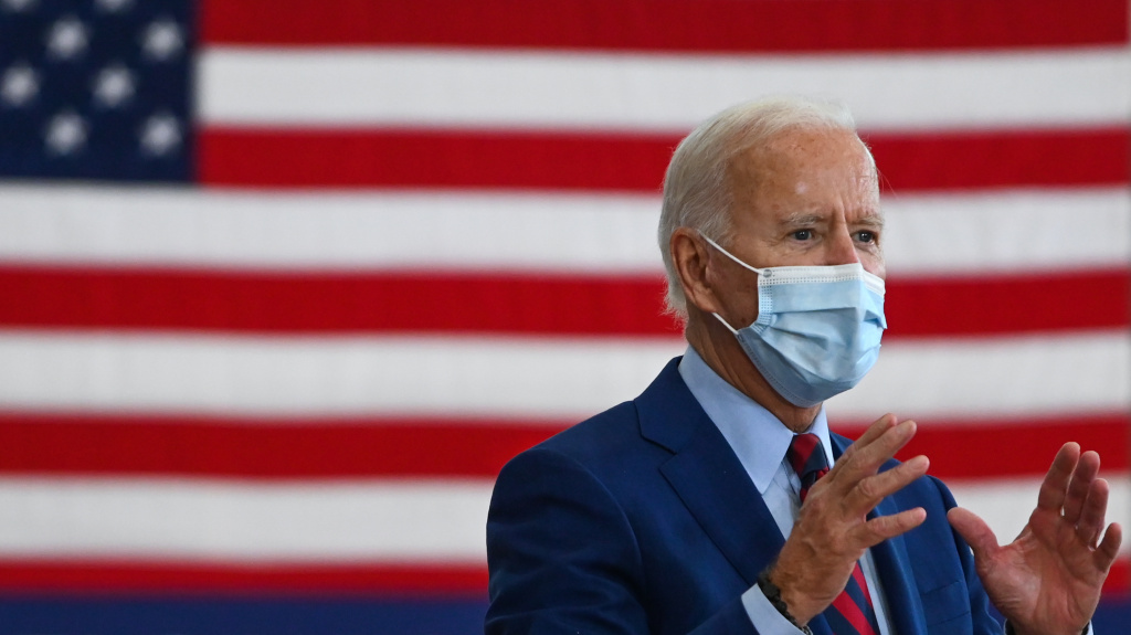 Democratic presidential nominee Joe Biden speaks Monday at the Jose Marti Gym during a campaign stop in Miami.