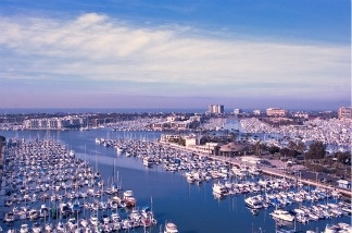 Marina del Rey, California in the morning sunlight.